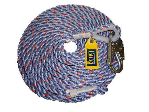 DBI Sala Rope Lifeline with Snap Hook 25 ft. (7.6 m) - Barry Cordage