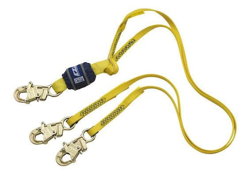 EZ-Stop™ 100% Tie-Off Shock Absorbing Lanyard - E4 snap hooks at each end 6 ft. (1.8m) - Barry Cordage
