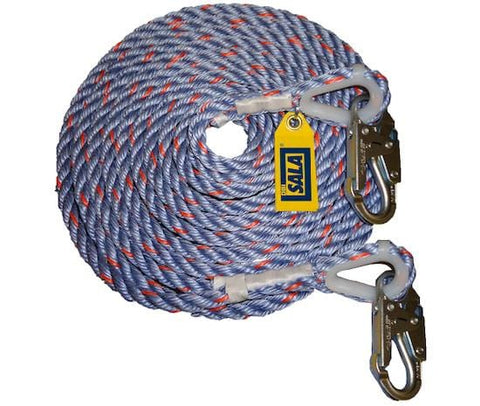 Rope Lifeline with 2 Snap Hooks 61 m (200 ft)