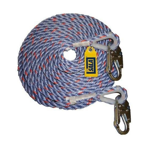 DBI Sala Rope Lifeline with 2 Snap Hooks 75 ft. (22 m)