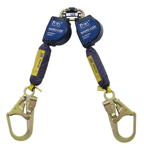 Nano-Lok™ Extended Length Twin-Leg Quick Connect Self Retracting Lifeline - Web 9 ft. (2.74m) steel rebar hooks - Barry Cordage