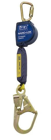 Nano-Lok™ Extended Length Self Retracting Lifeline with Anchor Hook - Web 9 ft. (2.74m) steel rebar hook - Barry Cordage