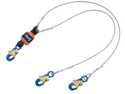 EZ-Stop™ Leading Edge 100% Tie-Off Cable Shock Absorbing Lanyard - Aluminum