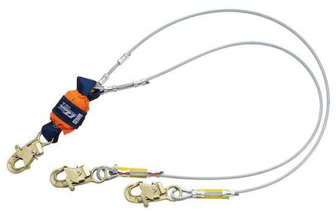 EZ-Stop™ Leading Edge 100% Tie-Off Cable Shock Absorbing Lanyard - Steel