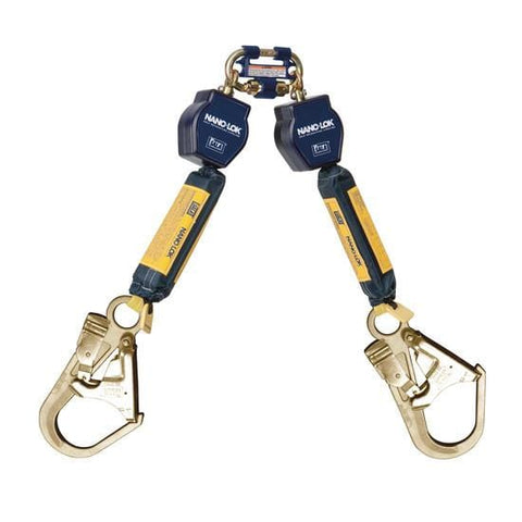 Nano-Lok™ Twin-Leg Quick Connect Self Retracting Lifeline - Web - 2X Steel Rebar Hook - Barry Cordage
