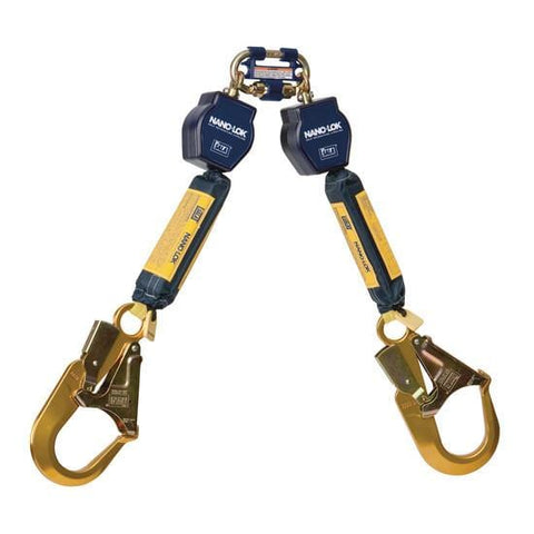 Nano-Lok™ Twin-Leg Quick Connect Self Retracting Lifeline - Web - 2X Aluminum Rebar Hook - Barry Cordage
