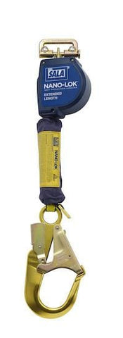 Nano-Lok™ Extended Length Self Retracting Lifeline with Anchor Hook - Web 9 ft. (2.74m) aluminum rebar hook - Barry Cordage