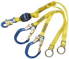EZ-Stop™ Tie-Back 100% Tie-Off Shock Absorbing Lanyard 6 ft. (1.8m) - E4 with aluminum rebar hooks - Barry Cordage