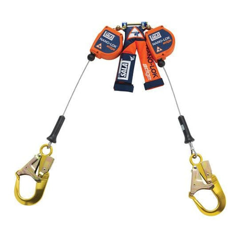 Nano-Lok™ Edge Twin-Leg Quick Connect Self Retracting Lifeline 8 ft. (2.4m) - Galvanized cable with aluminum rebar hooks - Barry Cordage