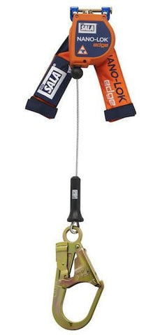 Nano-Lok™ Edge Quick Connect Self Retracting Lifeline 8 ft. (2.4m) - Galvanized cable with steel rebar hook - Barry Cordage