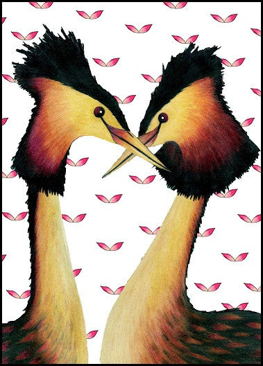 Crested Grebes Anniversary Card    12-14