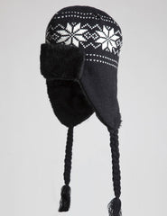 Snow Flake Knitted Trapper Hat - Black