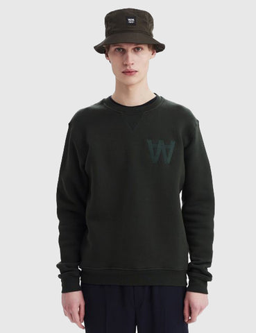 Wood Wood Houston Crewneck Sweat - Jet Green