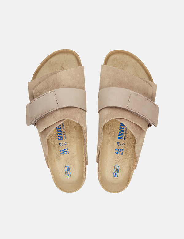 Birkenstock Kyoto Nubuck (Regular, Soft Footbed) - Gray Taupe