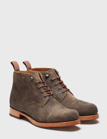 Grenson Ryan Vintage Suede Boot - Dark Brown