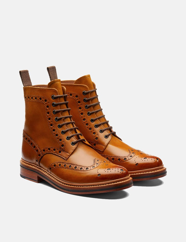 Grenson Fred Brogue Stiefel (Leder) - Tan