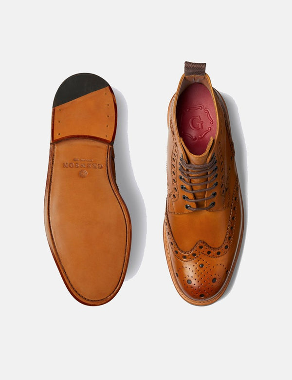 Grenson Fred Brogue Boot (Leather) - Tan