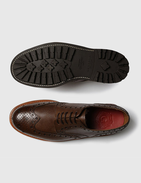 Grenson Archie Brogue Shoes - Alpine Brown