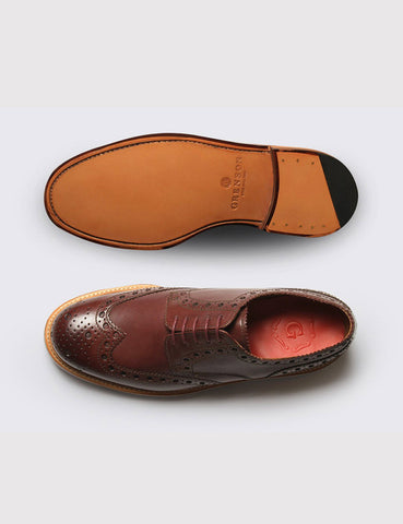 Grenson Archie Calf Brogue Shoes - Burgundy Calf