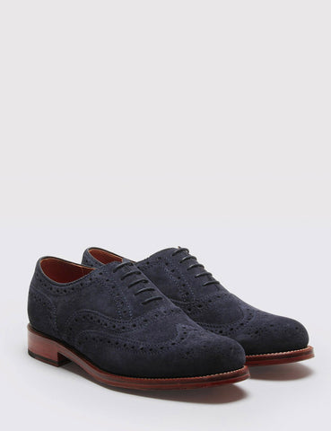 Grenson Stanley Suede Shoes - Navy Suede
