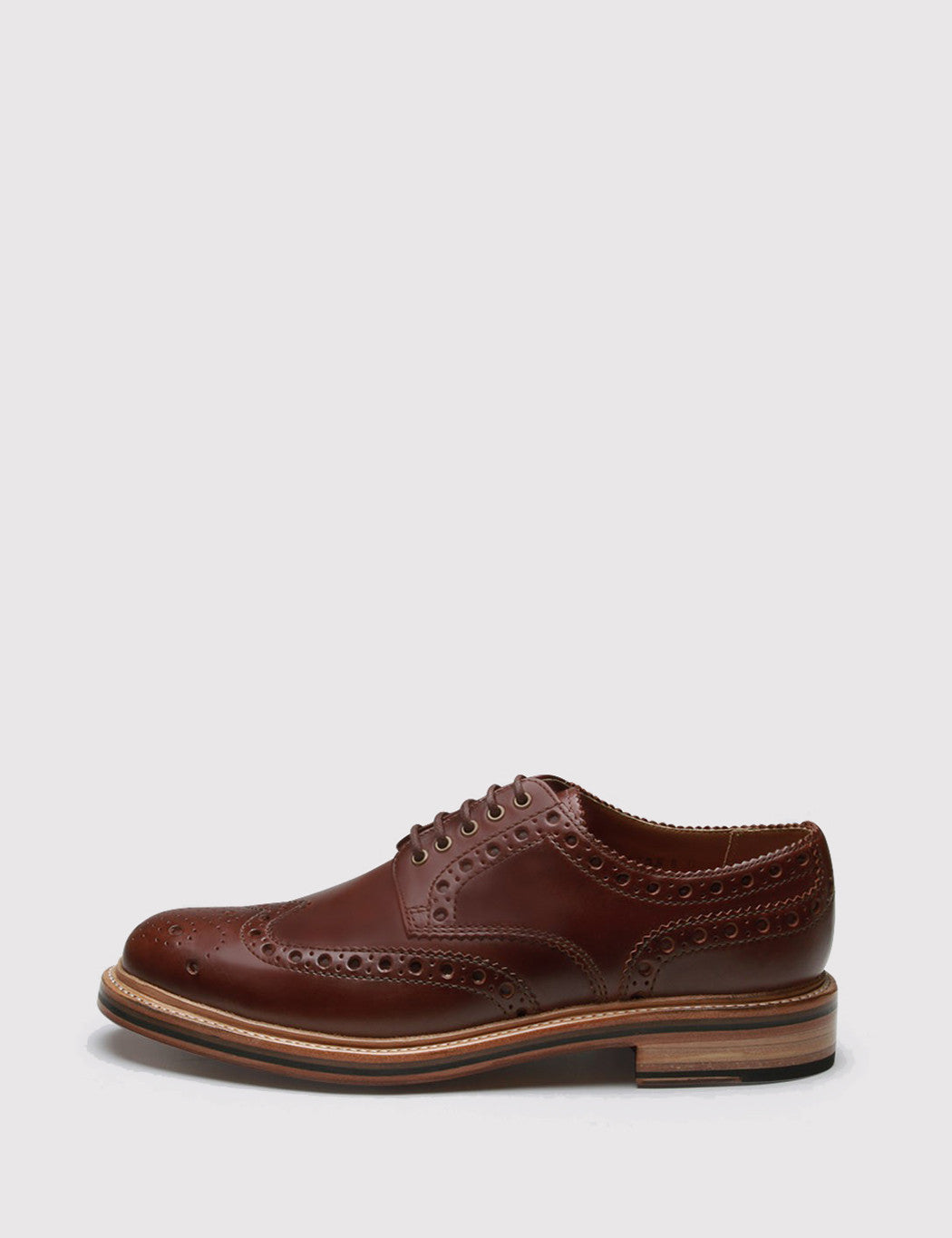 Grenson Archie Brogue Shoes - Chestnut Brown