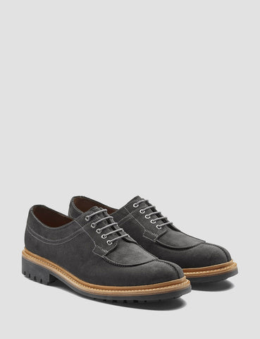 Grenson Percy Suede Apron Shoes - Lavagne Grey