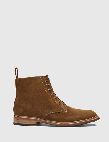 Grenson Fergal Suede Derby Boot - Snuff Brown