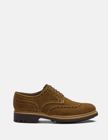 Grenson Archie Brogue Suede Shoes - Snuff