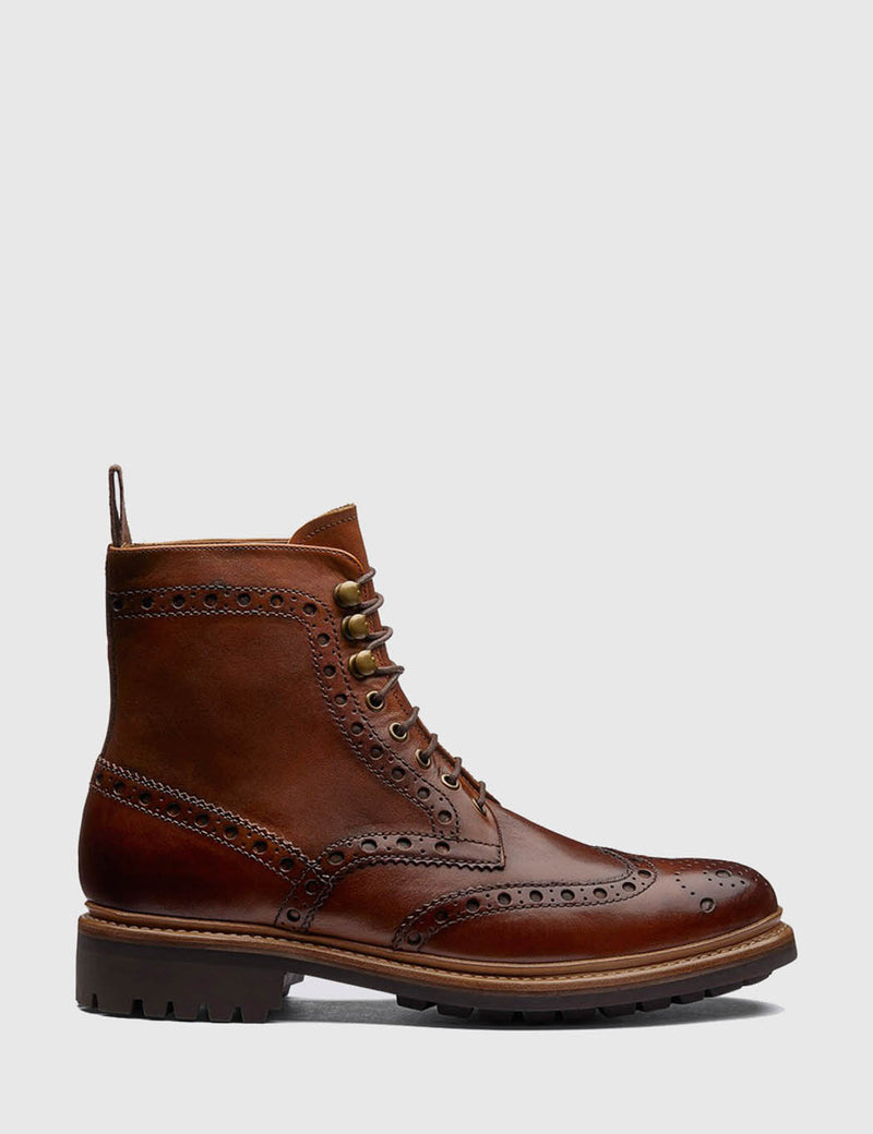 Grenson Fred Brogue Boot (Hand Painted) - Tan