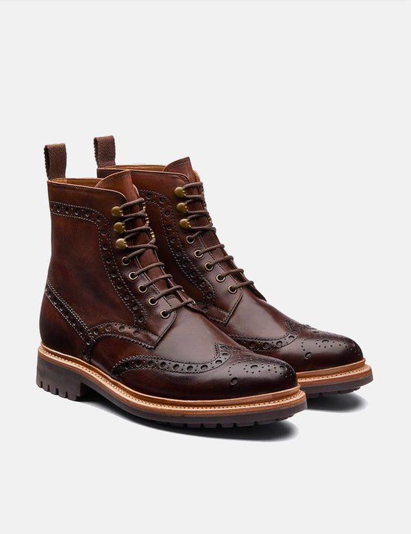 Grenson Fred Brogue Boot (Rubber Sole) - Dark Brown