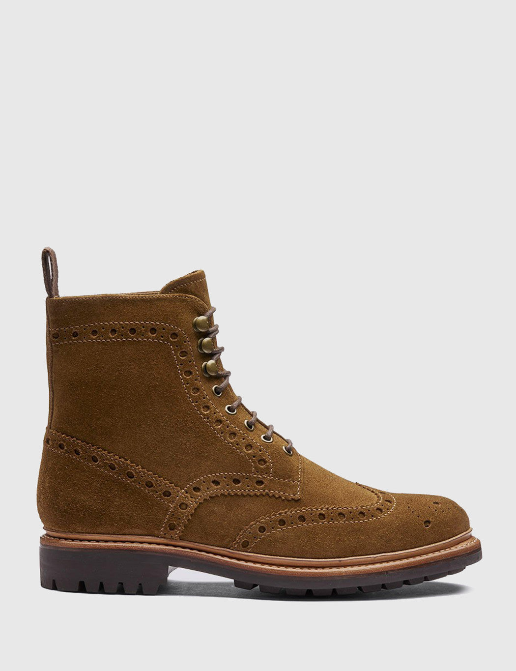 Grenson Fred Brogue Boot (Suede) - Snuff Brown
