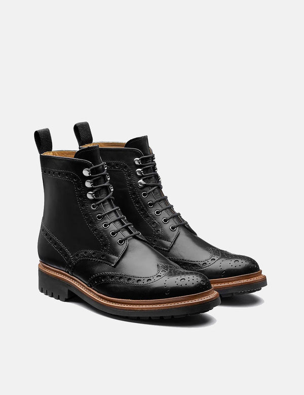Grenson Fred Brogue Boot (peint à la main) - Noir