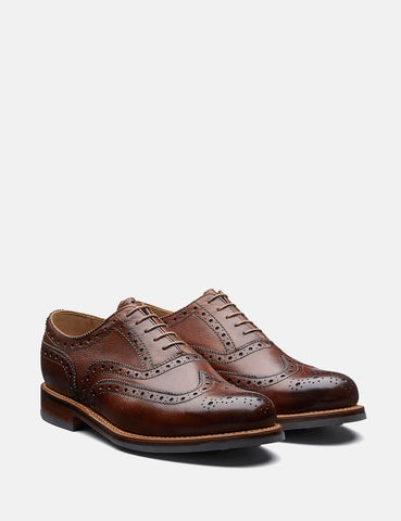 Grenson Stanley Brogue Shoes (Grain Leather) - Tan