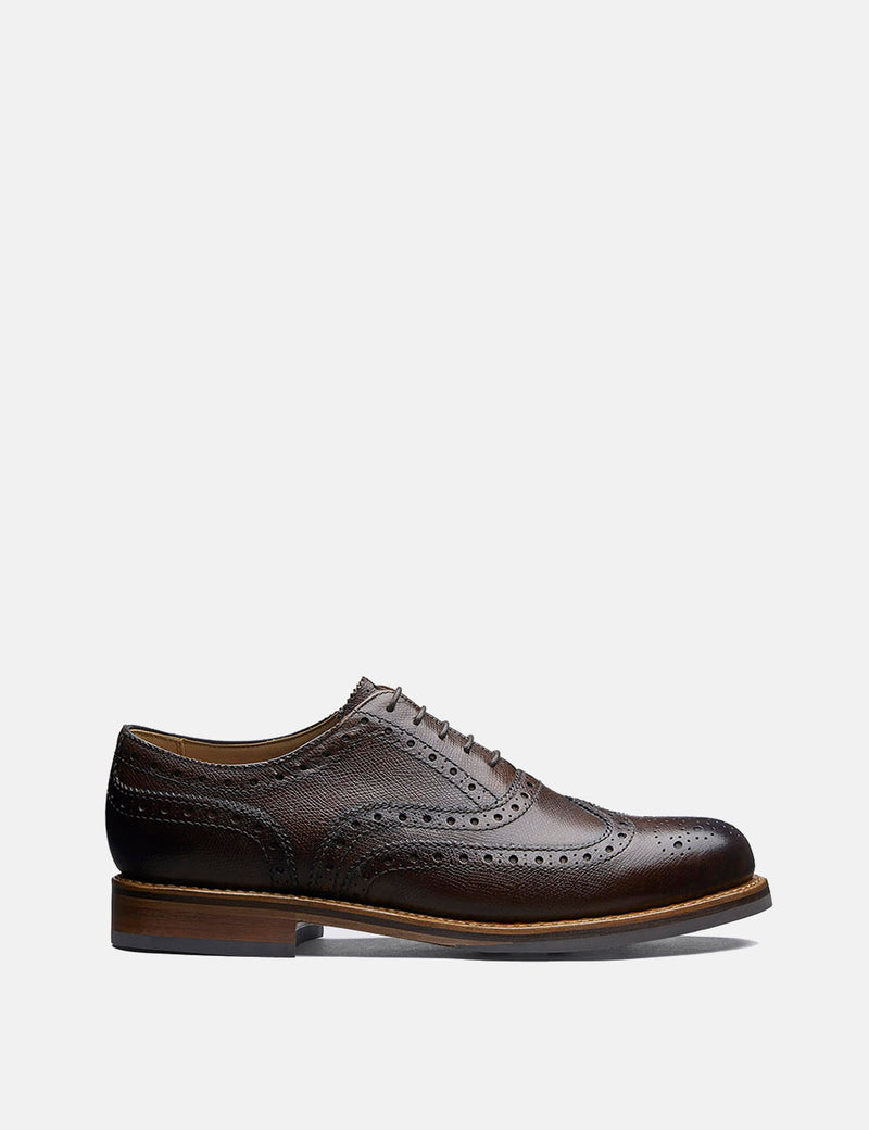 Grenson Stanley Brogue Shoes (Grain Leather) - Dark Brown