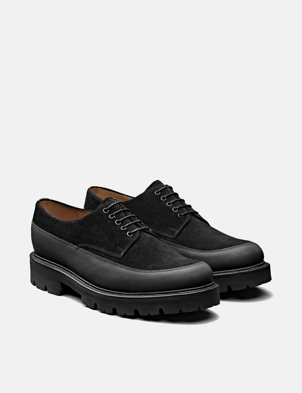 Grenson Earl Derby Shoe 112560 (Suede/Leather) - Black
