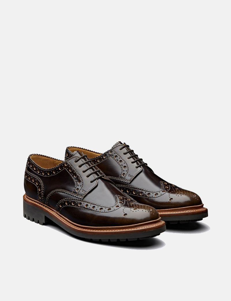 Grenson Archie Brogue Shoes 112655 (Hi Shine Leather) - Pickled Walnut
