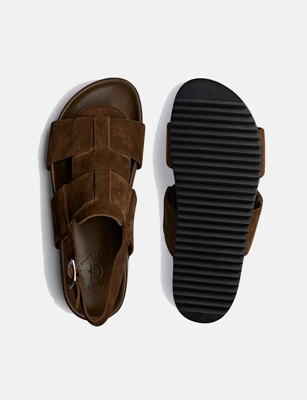 Grenson Wiley Sandal (Suede) - Cigar Brown