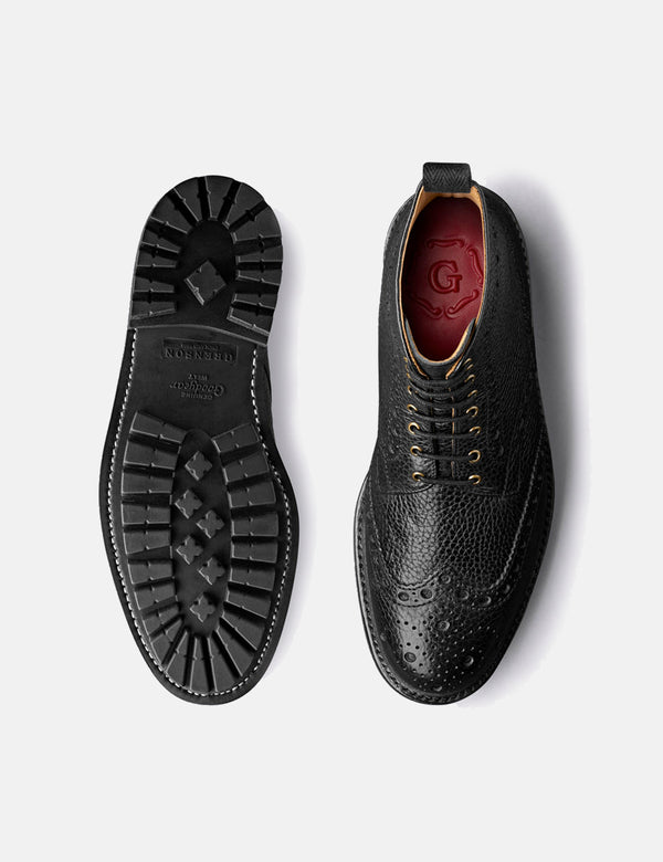 Grenson Fred Brogue (Natural Grain) - Black