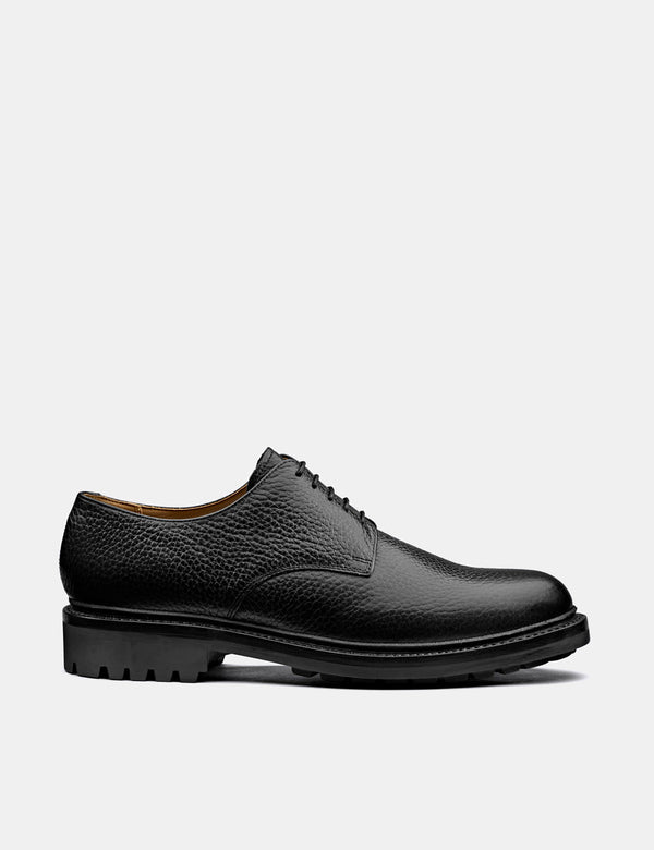 Grenson Curt Derby Shoe (Natural Grain) - Black