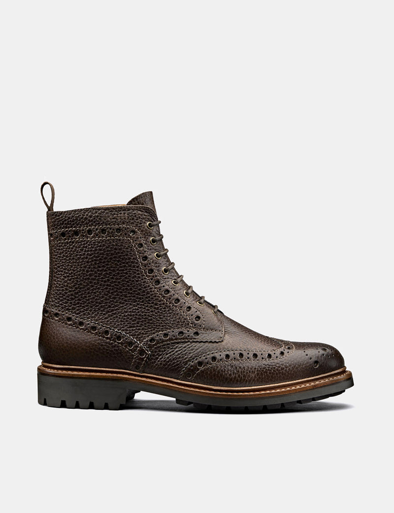 Grenson Fred Brogue (Natural Grain) - Marron Foncé
