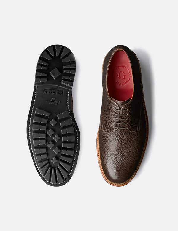 Grenson Curt Derby Shoe (Natural Grain) - Dark Brown