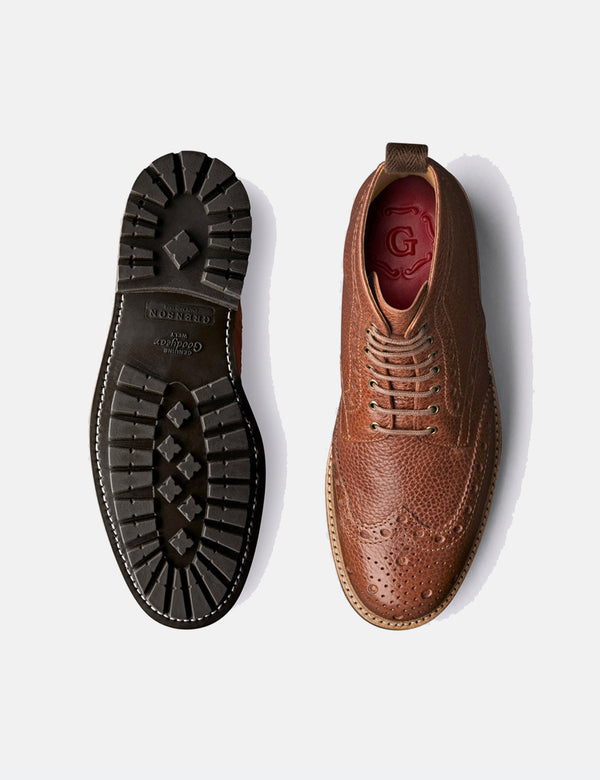Grenson Fred Brogue (grain naturel) - Tan