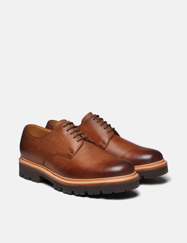 Grenson Curt Derby Shoe (Washed Nubuck) - Walnut