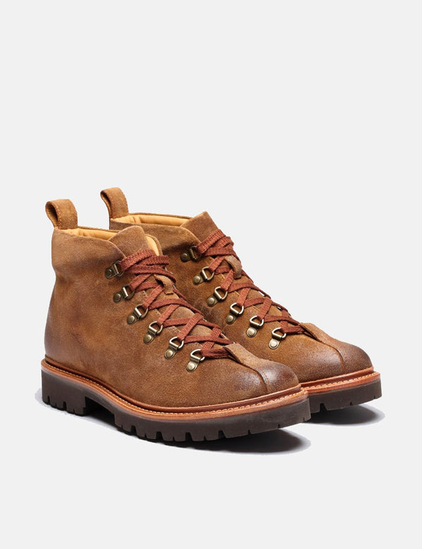 Grenson Bobby Hiker Boot (Burnished Suede) - Snuff Brown