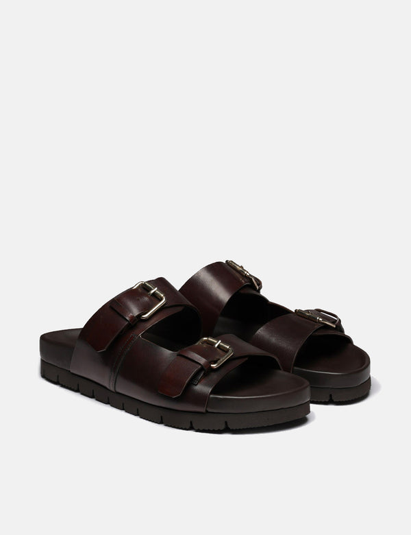 Grenson Florin Sandal (Handpainted Leather) - Dark Brown
