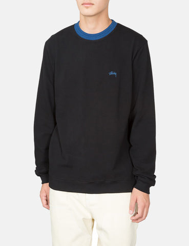 Stussy Diamond Collar Heavy Pique Sweatshirt - Black