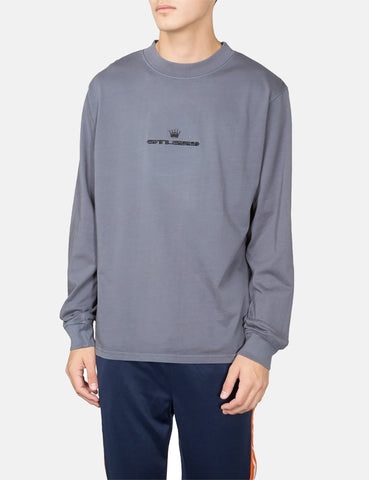 Stussy Overdyed Mock Neck Long Sleeve T-Shirt - Black