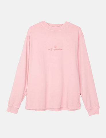 Stussy Overdyed Mock Neck Long Sleeve T-Shirt - Pink
