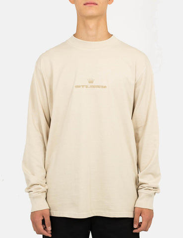 Stussy Overdyed Mock Neck Long Sleeve T-Shirt - Stone