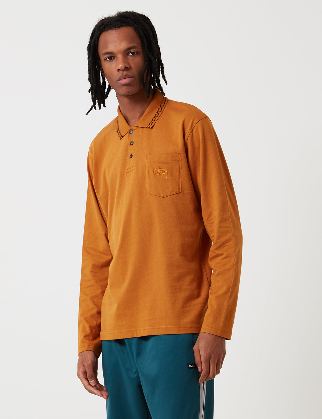 Stussy Dillon Long Sleeve Polo Shirt - Rust Red | URBAN EXCESS.